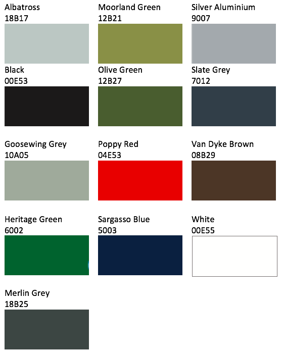 Low Profile Fixings Colour Chart